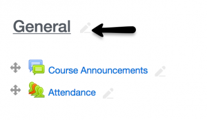 arrow pointing to the faded pencil icon next to the word GENERAL in a new course