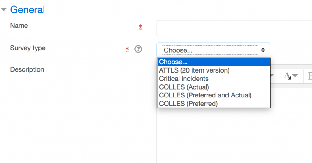 Choices are 1. ATTLS 20 item version, 2. Critical incidents, 3. COLLES Actual, 4. COLLES Preferred and Actual, 5. COLLES preferred