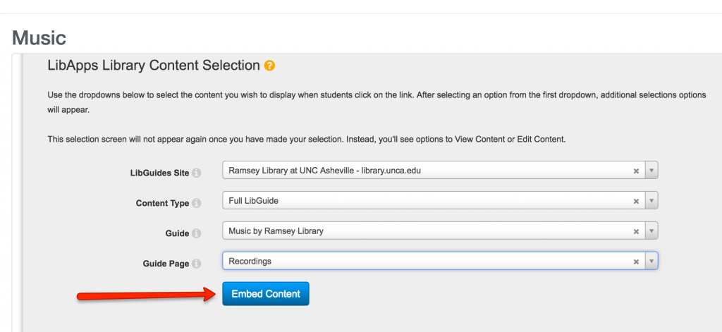 Selecting the libguide