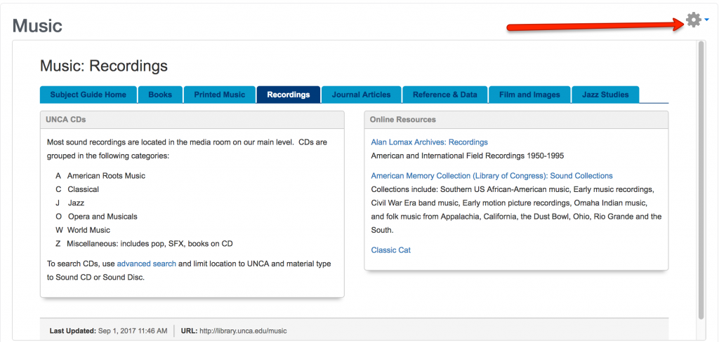 Image of completed Libguide