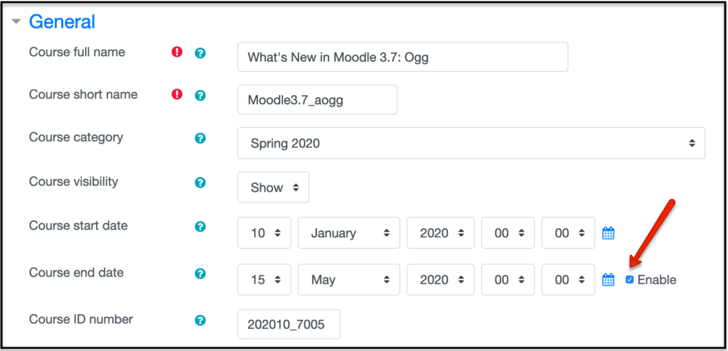 Image of the Enable date block in Edit Settings